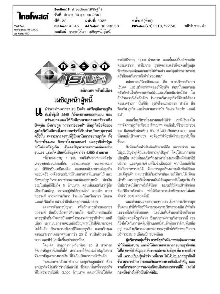 Thai Post, ไทยโพสต์, Thavorn Hotel